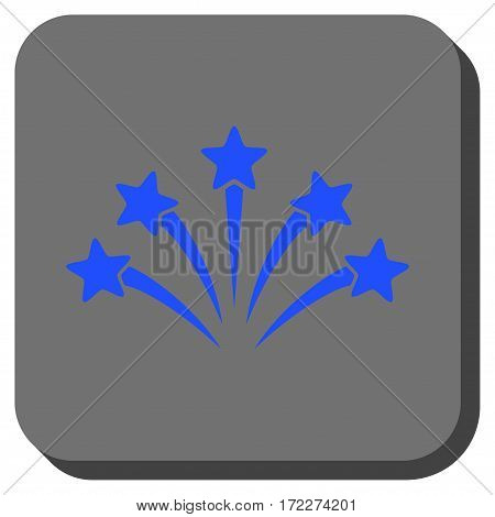 Fireworks Burst square icon. Vector pictogram style is a flat symbol on a rounded square button blue and gray colors.