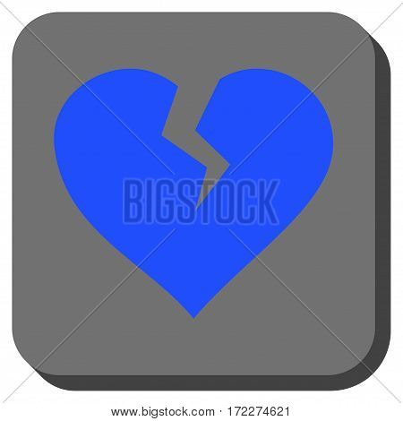 Heart Break interface button. Vector pictograph style is a flat symbol inside a rounded square button blue and gray colors.