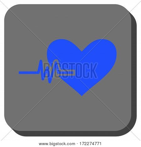Heart Pulse toolbar button. Vector pictogram style is a flat symbol on a rounded square button blue and gray colors.