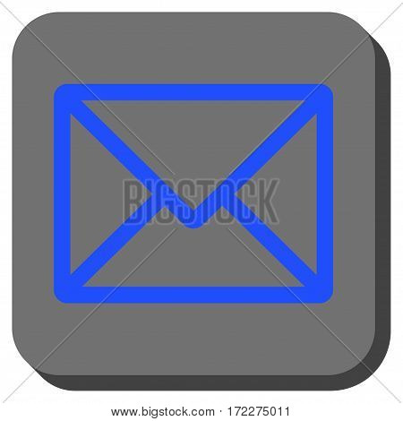 Letter square icon. Vector pictograph style is a flat symbol on a rounded square button, blue and gray colors.