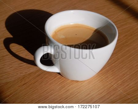Nice White Cup Of Hot Black Coffee