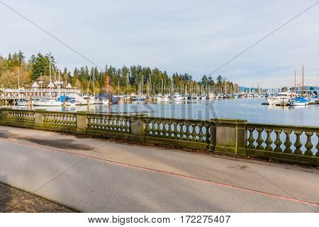 Vancouver Canada - January 28 2017: Boats and yachts in Vancouver marina at Stanley Park