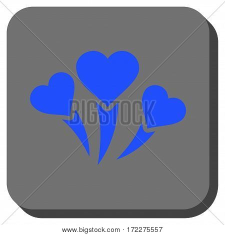 Love Heart Fireworks rounded button. Vector pictograph style is a flat symbol centered in a rounded square button, blue and gray colors.