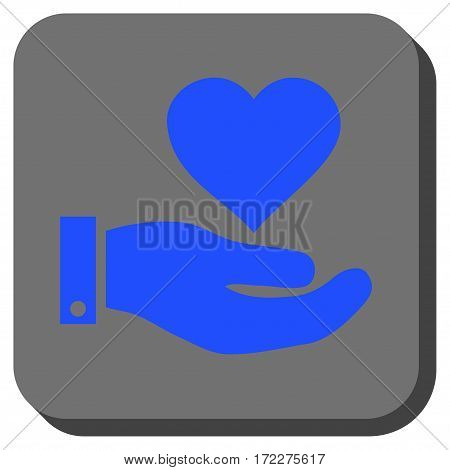 Love Heart Offer Hand square icon. Vector pictogram style is a flat symbol centered in a rounded square button, blue and gray colors.