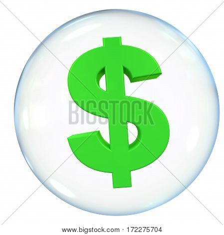 Dollar Currency Bubble isolated on white background. 3D render