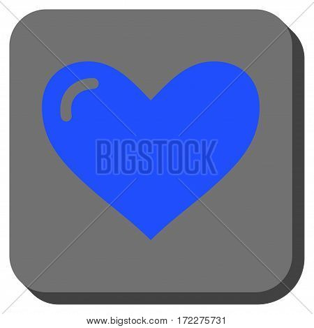 Love Heart interface button. Vector pictogram style is a flat symbol on a rounded square button, blue and gray colors.