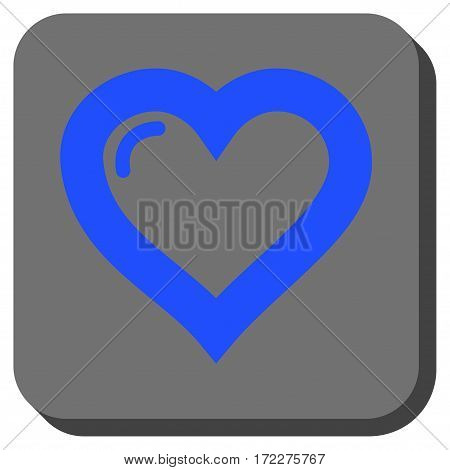 Love Heart interface button. Vector pictogram style is a flat symbol centered in a rounded square button, blue and gray colors.