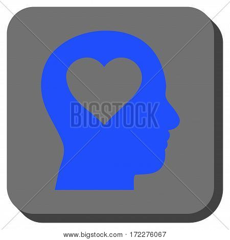 Love In Head toolbar button. Vector pictogram style is a flat symbol centered in a rounded square button, blue and gray colors.