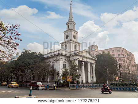 KOLKATA, INDIA -FEBRUARY 12, 2017: St. Andrews Church a notable landmark at Dalhousie BBD Bag area at Kolkata. Photograph shot on a weekend morning.
