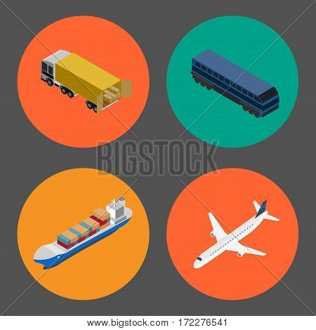Logistics and freight transportation icons isolated vector illustration. Cargo jet airplane, forklift truck, commercial truck, freight vessel round isometric icons. Worldwide delivery, global shipping