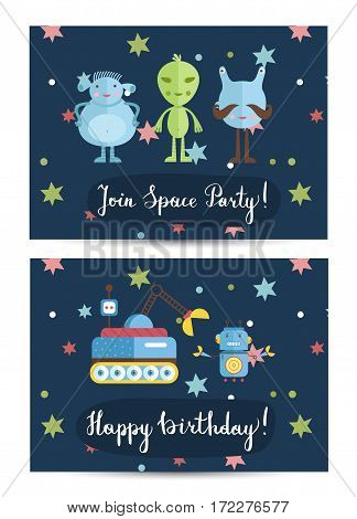 Happy birthday cartoon spaces greeting card. Cute laughing star, comets and planets vector illustration. Bright invitation on childrens costumed space party