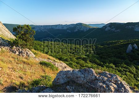 Mountains of southern coast at dawn. View from the top of the mountain Ilyas Kaya.