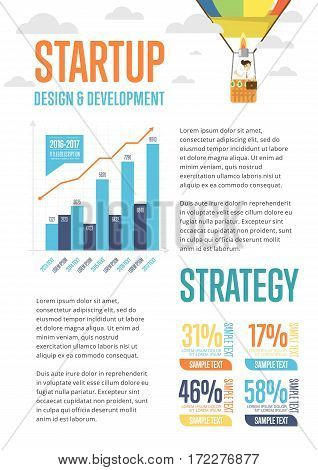 Business infographics banner with businessman on air balloon vector illustration. Data visualization elements, marketing chart and graph. Startup strategy, business statistics, planning and analytics