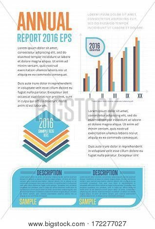 Annual report template with diagram vector illustration. SEO analytics, marketing strategy, business statistics and planning. Conceptual business design with data visualization elements and text