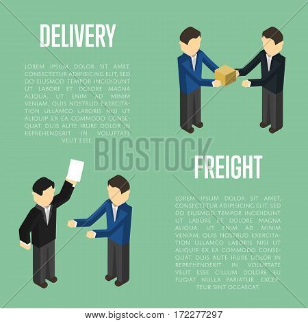 Freight delivery isometric banner with people vector illustration. Cooperating delivery managers, teamwork concept. Freight delivery and distribution, warehouse logistics management, cargo shipping