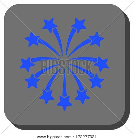 Spherical Fireworks toolbar button. Vector pictogram style is a flat symbol in a rounded square button, blue and gray colors.