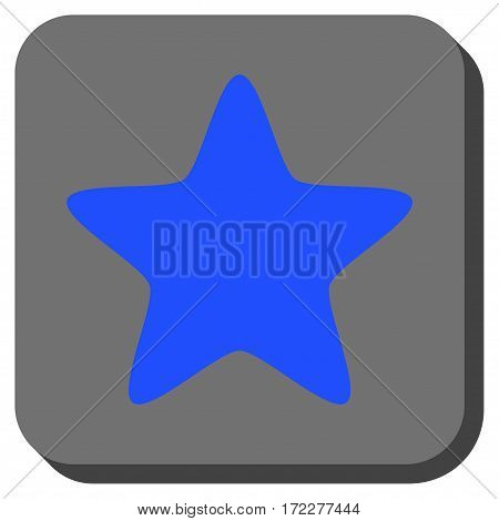 Star interface button. Vector pictogram style is a flat symbol centered in a rounded square button, blue and gray colors.