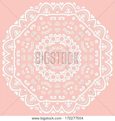 Oriental pattern with arabesques and floral elements. Traditional classic ornament. Pink and white pattern