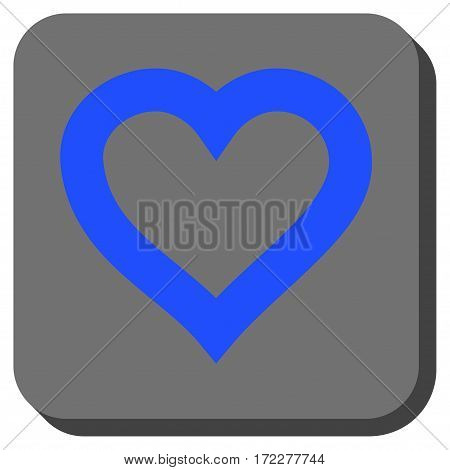 Valentine Heart interface toolbar button. Vector pictograph style is a flat symbol centered in a rounded square button, blue and gray colors.