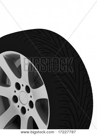 Brand new tire, 3d rendering of car wheel.