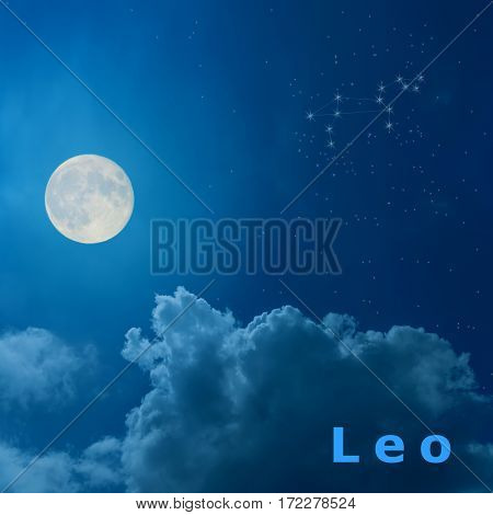 full moon in the night sky with design zodiac constellation Leo
