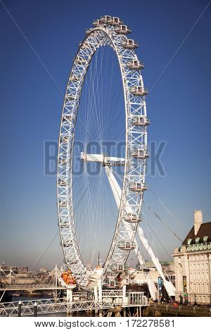 LONDON, UK - JANUARY 26, 2017: The EDF Energy London Eye next to the river Thames, UK