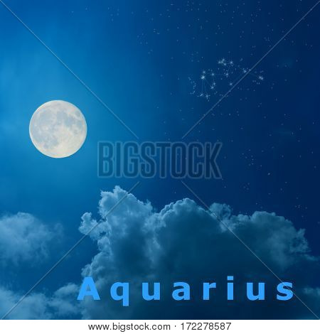 full moon in the night sky with design zodiac constellation Aquarius