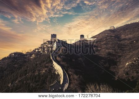 Picture of the Great Wall of China with beautiful twilight sky in Beijing