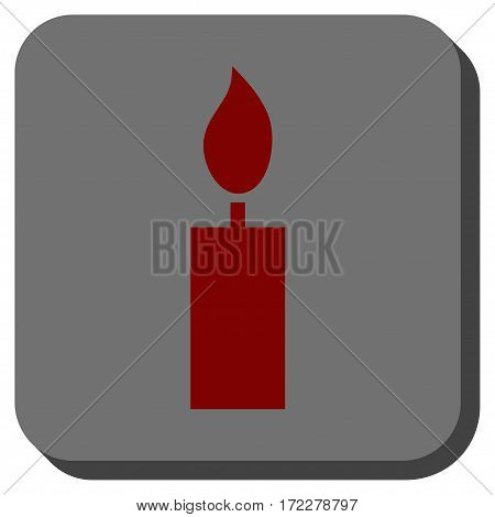 Candle toolbar icon. Vector pictogram style is a flat symbol inside a rounded square button, dark red and black colors.