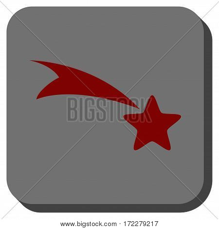 Falling Star toolbar button. Vector pictograph style is a flat symbol in a rounded square button, dark red and black colors.