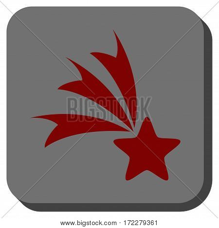 Falling Star interface toolbar button. Vector pictograph style is a flat symbol in a rounded square button, dark red and black colors.