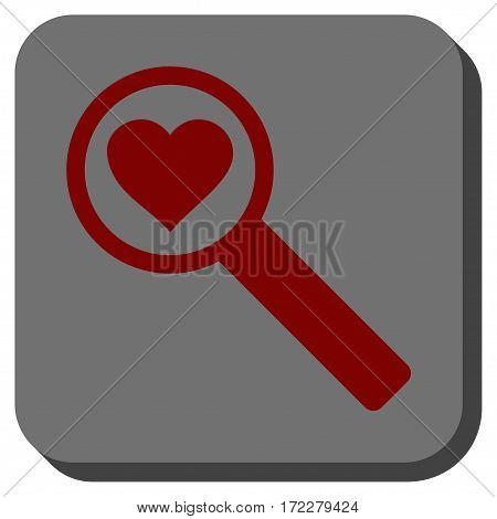 Find Love square icon. Vector pictograph style is a flat symbol centered in a rounded square button, dark red and black colors.