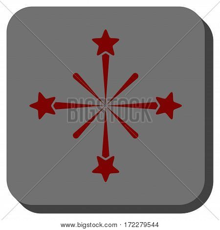 Fireworks rounded button. Vector pictograph style is a flat symbol on a rounded square button, dark red and black colors.