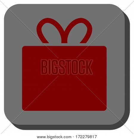 Gift interface toolbar button. Vector pictogram style is a flat symbol inside a rounded square button, dark red and black colors.