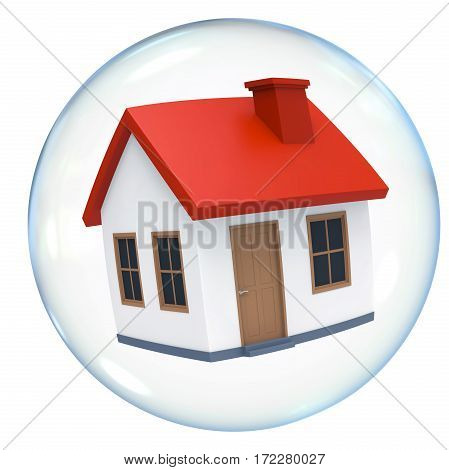 Housing Bubble isolated on white background. 3D render