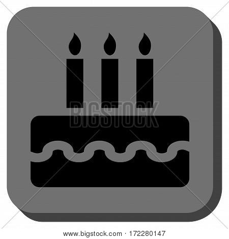 Birthday Cake rounded icon. Vector pictogram style is a flat symbol in a rounded square button, black and gray colors.