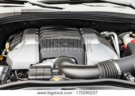 Motor powerful V8 car closeup - Chevrolet Camaro