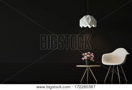 Modern living room interior with black wall 3d rendering image.There are minimalist style Empty black wallwhite chair and wood desk