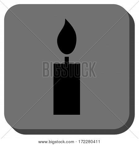Candle toolbar icon. Vector pictogram style is a flat symbol centered in a rounded square button, black and gray colors.