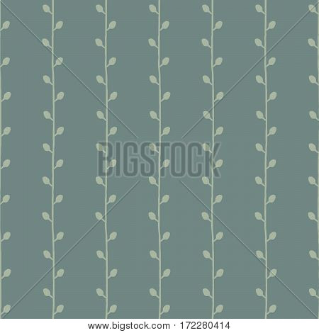 Seamless nature sketch vector pattern. Twigs on green background. Hand drawn texture illustration