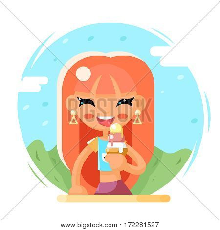 Smiling Cute Girl Happy Eat Icecream Cartoon Character Flat Vector Illustration