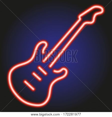 guitar red neon glowing on dark background of vector illustration