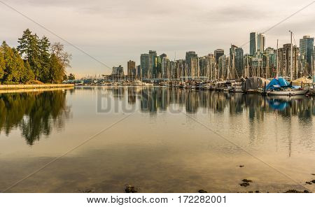 Boats and yachts in Vancouver marina with cityscape in background in late afternoon light