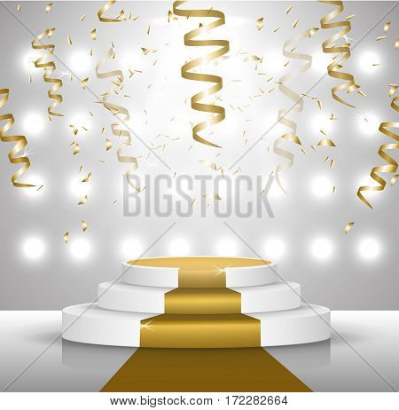 Business presentation podium of three steps with the track. Bright spotlights. solemn presentation, streamers and confetti. 3D-rendering of vector graphics.