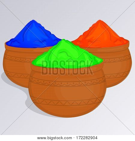 Three pots of colorful gulal or colors powder. Indian traditional paint to celebrate Holi in simple cartoon style. Vector illustration. Holiday Collection.