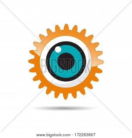 Vector sign eye and gear, isolated illustration on white