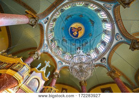 CAIRO, EGYPT - SEPTEMBER 04, 2016: Interior details of St George church,in Coptic Cairo, Egypt