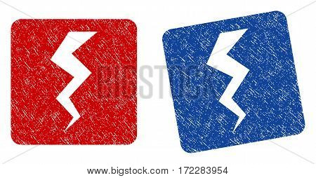 Thunder Crack grunge textured icon. Rounded square with symbol shape hole. Flat style with scratched texture. Blue and red variants. Corroded vector stamp with grainy design.