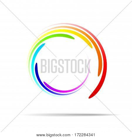 Rainbow Rings Background, isolated illustration on white