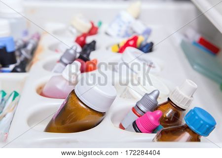 Close Up Photo Of Dentist's Tools Drawer